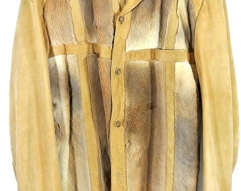 Vintage Tan Beige Suede Jacket w/Kangaroo Fur Coat Shirt Button Down 1970's L/42