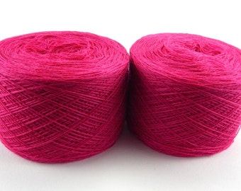 Fuchsia, bright pink color lace weight merino yarn for lace knitting or Haapsalu shawl knitting, measure 2/28, 100 grams (1526yard)
