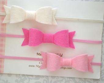 Felt Bow Headband, Baby Bow Headband, Baby Headband Set, Felt Bows, Mini Felt Bow, Mini Bow Headband, Baby Bows, Baby Headband, Toddler Bow