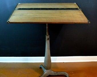 Vintage Industrial Cast Iron Base Drafting Table, Vintage Drafting Desk with Slide Rule