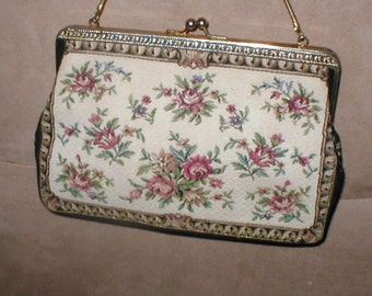 Vintage Needlepoint Tapestry Evening Purse