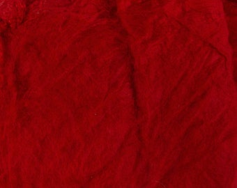 Silk Hankies, Fire Red Mawatas, Mulberry, Bombyx for felting, spinning and knitting