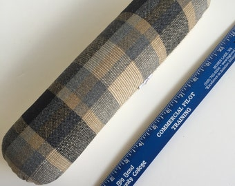 Vintage brown plaid Sewing ROLL for ironing curved seams. Handy garment pressing aid. Firm - filled with sawdust