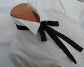 """Black Silk Skinny Scarf,  1.5"""" x 52""""   In.,  Ladies Silk Self-Tie Bow Tie,   SALE PRICE  !     Maverick Gambler Tie,  Unisex Western Bow Tie"""