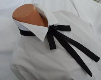 "Black Silk Skinny Scarf,  1.5"" in   x  56"" in,     Silk Self-Tie Bow Tie, Maverick Gambler Tie,  Unisex Bow Tie,"