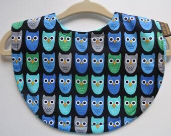 Baby Boy / Infant / Toddler Terry Cloth Bib in Black Aqua Blue Grey Green Owls