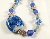 Blue and Gray Necklace with Lampwork Focal Bead