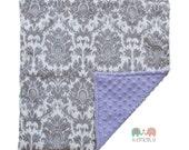 Grey Damask on Lavender Double Minky Baby Lovey Blanket, Custom Made, Baby Shower Gift, Girls Blanket, Damask Blanket, Double Sided Minky