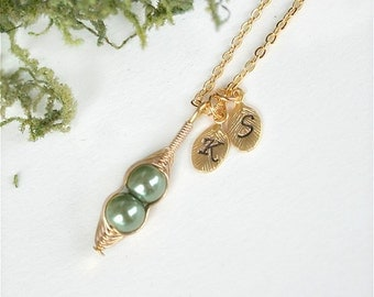 Pea Pod Necklace, Two Peas In a Pod, Gold Pea Pod Necklace,  Initial Peapod Necklace, Mothers necklace, Peapod Jewelry, 2 Peas in a Pod