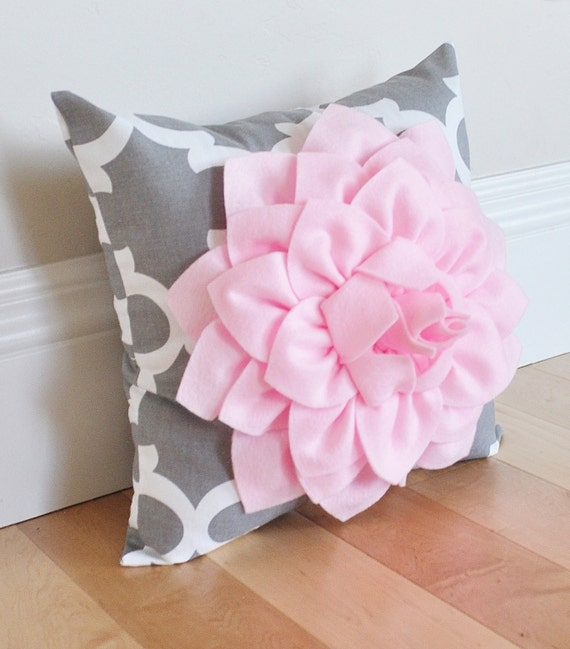 decorative flower pillow light pink dahlia on gray and white. Black Bedroom Furniture Sets. Home Design Ideas