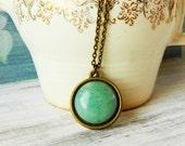Green Aventurine Necklace Quartz Boho Necklace Aventurine Pendant Antique Brass Bezel Quartz Jewelry Adventurine Jewelry