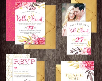 Watercolor Wedding Invitation Set Floral Gold Glitter  --  Personalized Digital Printable Files