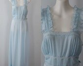 Vintage Nightgown, Vintage Nightgowns, 1940's Nightgown, Luxite by Holeproof, Luxite,  Pale Blue Nightgown, Romantic, Wedding