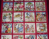 "Handmade-Quilting Treasures ""Hungry Animals Alphabet"" -Quilt -Lap-Nap-Bed-Throw-MJ Quilts-Made in USA-Free Shipping"