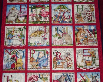 """Handmade-Quilting Treasures """"Hungry Animals Alphabet"""" -Quilt -Lap-Nap-Bed-Throw-MJ Quilts-Made in USA-Free Shipping"""