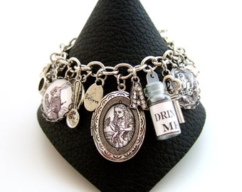 Alice in Wonderland Bracelet Alice Bracelet Alice in Wonderland Jewellery Altered Art Bracelet Monochrome Bracelet Literary Jewellery