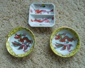 Vintage Chinese Soy Sauce Dishes with Dragons, Chinese Sauce Dishes