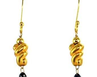 18k Gold Black Diamond Earrings