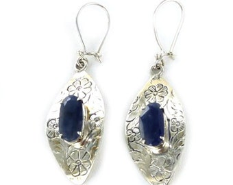 Sapphire Sterling Earrings Etched Marquis Shape Blue