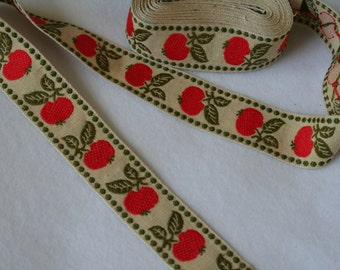 Vintage Ribbon Trim Embroidered Cherries ,Polka Dots - Orange Red, Olive Green -42 inches- last piece
