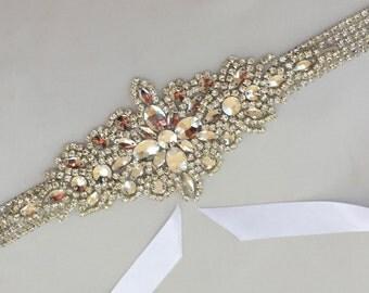 Crystal Bridal Sash, Wedding Gown Sash, Beaded Crystal Sash, Bridal Rhinestone Sash, Wedding Rhinestone Belt, Rhinestone Bridal Belt