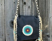 ON SALE Large shoulder bag with beaded sunflower rosette , Brown leather handbag with palomino fringe and lace