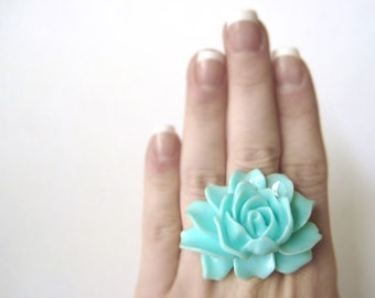 Chunky Ring - Light Blue Ring - Gift For Womens Floral Jewelry - Aqua Blue Rose Ring - Extra Large Cabochon Statement Ring - Cocktail Ring