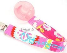 Teja Kumari Garden in Pink-  Personalized Pacifier Clip Set- YOU CHOOSE 1 Pacifiers- Snap- Universal Pacifier Clip Set, Binky Clip, Soothie