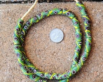 Krobo Beads: Green/Brown/Yellow (9x18mm)