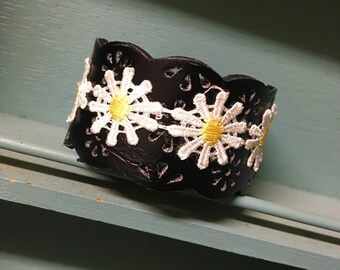 Upcycled Black Leather Cuff With Daisy Lace
