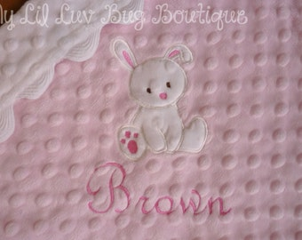 Personalized baby blanket- blush pink and white bunny- lovey blanket