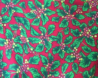 """Vintage Christmas Feedsack Cotton Holly & Berries 1940's 1 Yd.+ 16"""" L x 36"""" W Mint"""
