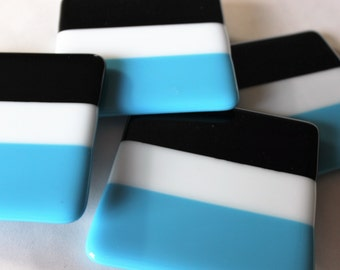 FUSED GLASS Coaster-Turquoise Black Drink Coasters, Under 25, Gift for Coworker Panthers NFL Team Colors, Hostess Gift, Wedding Gift, Sports