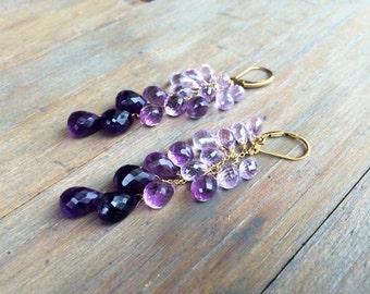 Sale Ombre purple Amethyst Cascade Earrings.  Gold, silver, rose gold, tarnished silver.