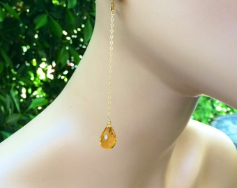 Long Citrine Gold Chain Earrings.  22k gold leverbacks.  Statement jewelry
