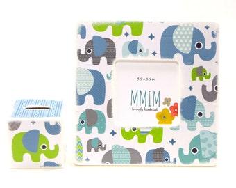 Elephants Picture Frame, Picture Frames, Unique Frames, Wood Frames, Photo Frames, Home and Living, Kids Room, Blue Elephant, Nursery
