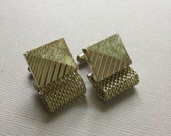 Gold Wash Cuff Links Mesh Wrap Design