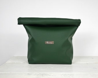 Green Lunch Bag, Simple Green Lunch Tote