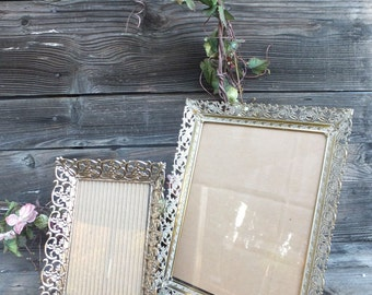 Vintage Frames, Pr. Mismatched Vintage Gold Filigree Photo Frames