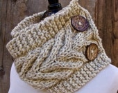 Infinity Scarf, Circle Scarf, Cable Knit Scarf, Women's Scarf, Scarf with Button, Button Scarf, Wheat, Off White, Tweed