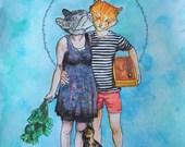 Kitty Kisses - original watercolor illustration - 8 x 10 art print