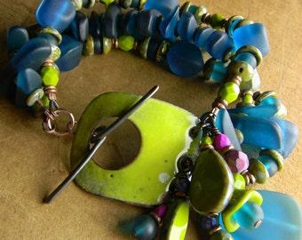 Boho Bohemian Jewelry Enamel Bracelet  Blue Fuschia Bright Green Colorful Hippie Beaded