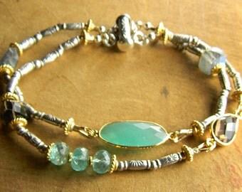 Tribal Jewelry Boho Bracelet Hill Tribe Silver Green Chalcedony Apatite Smokey Quartz Labradorite Gold Filled Bohemian Beaded