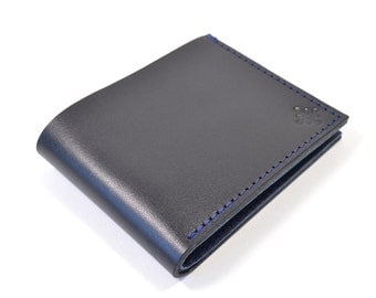 Black Leather Bi Fold Card Bill Wallet Handmade.
