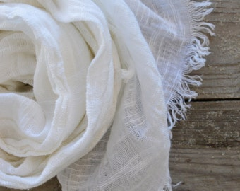 White Linen Scarf | Summer Scarf | White Scarf | Pure White Scarf | Beach Scarf | Beach Weddings Scarf | Beach Wedding Accessory