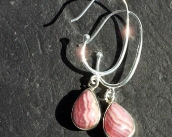 Watermelon Pink - Lacy Rhodochrosite Sterling Sliver Earrings