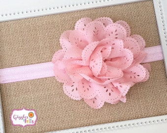 Pink Eyelet Headband, Pink Flower Headband, Baby Headband, Newborn Headband, Pink Infant Headband, Photo Prop, Toddler Headband