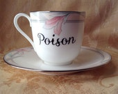 Rose Quartz Pink Floral Poison Coffee Mug and Saucer