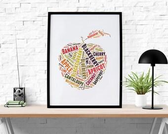 Apple Fruit Mix Print, Abstract Art Print, Home Decor, Modern Decor, Wall Art, Wall Decor, Photo, Print, Poster, Printable Instant download