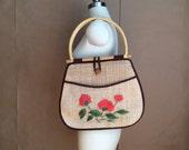 vintage market bag / hand woven straw bag / top handle bag / shoulder bag  / purse / handbag /boho bohemian hippie